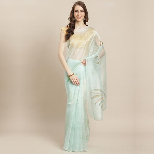 Amazing Light Blue Colored Casual Wear Printed Organza Saree