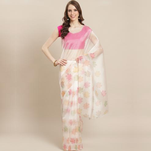 Gorgeous Offwhite Colored Casual Wear Printed Organza Saree