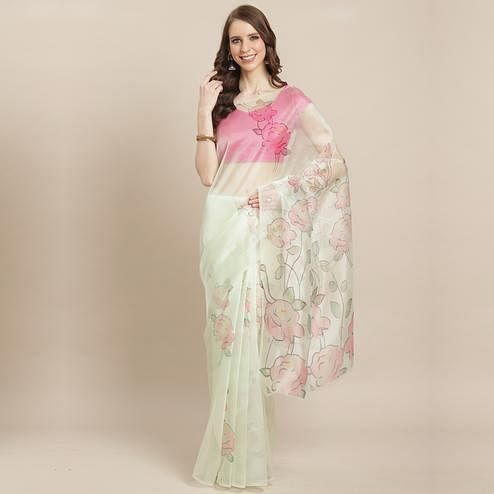 Blissful Offwhite Colored Casual Wear Printed Organza Saree