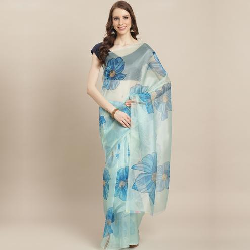Ideal Light Blue Colored Casual Wear Printed Organza Saree