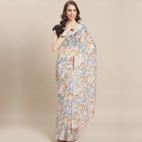 Lovely Cream Colored Casual Wear Printed Linen Saree