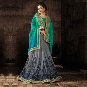 Gorgeous Green-Gray Designer Embroidered Georgette And Moss Chiffon Saree