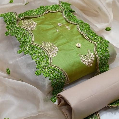 Exotic Green Colored Festive Wear Embroidered Chanderi Cotton Dress Material