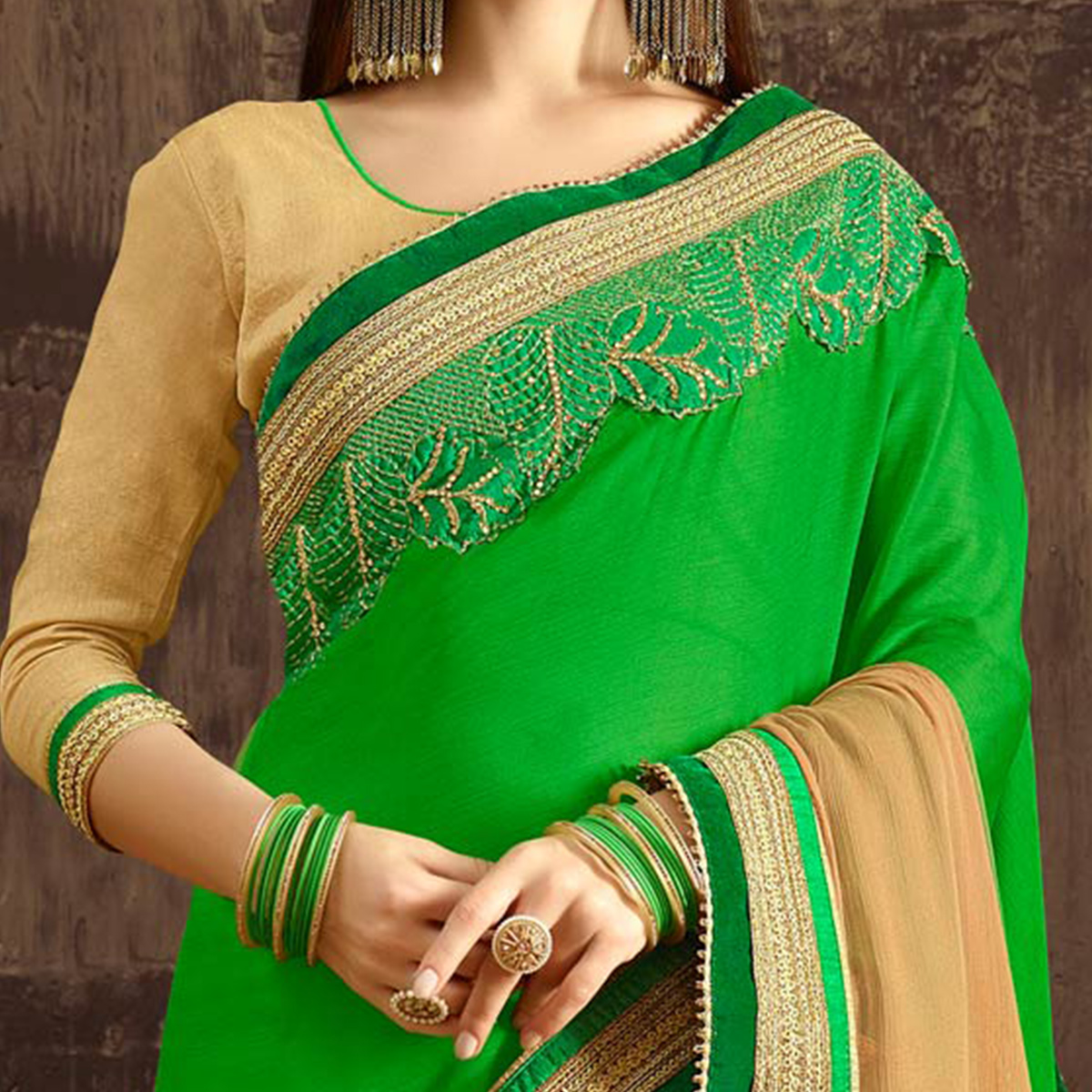 Charming Green-Beige Colored Designer Embroidered Georgette And Moss Chiffon Saree