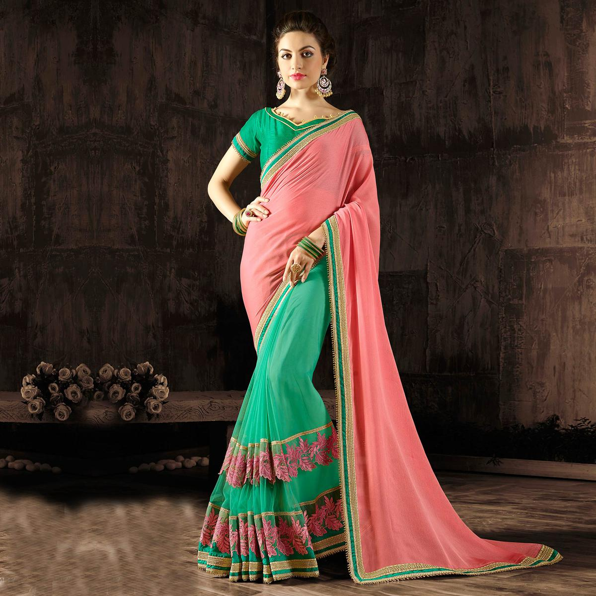 Beautiful Pink-Green Colored Designer Embroidered Georgette And Moss Chiffon Saree