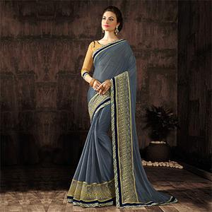 Ravishing Gray Designer Embroidered Georgette And Moss Chiffon Saree