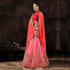 Flamboyant Red-Pink Designer Embroidered Georgette And Moss Chiffon Saree