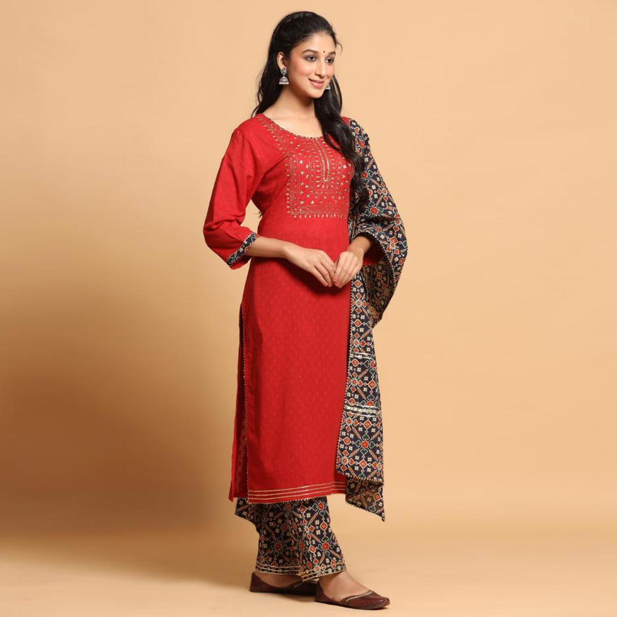 Ideal Red Colored Partywear Embroidered Cotton Kurti - Palazzo Set With Dupatta
