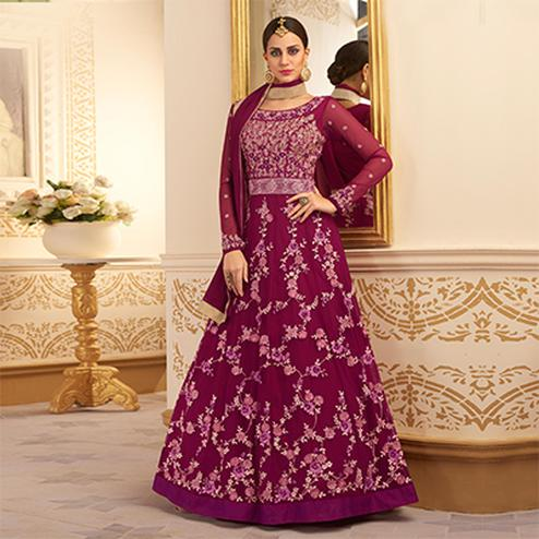 Attractive Dark Pink Colored Designer Embroidered Heavy Silk Anarkali Suit