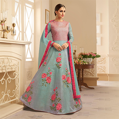 Mesmerising Gray Colored Designer Embroidered Heavy Silk Anarkali Suit