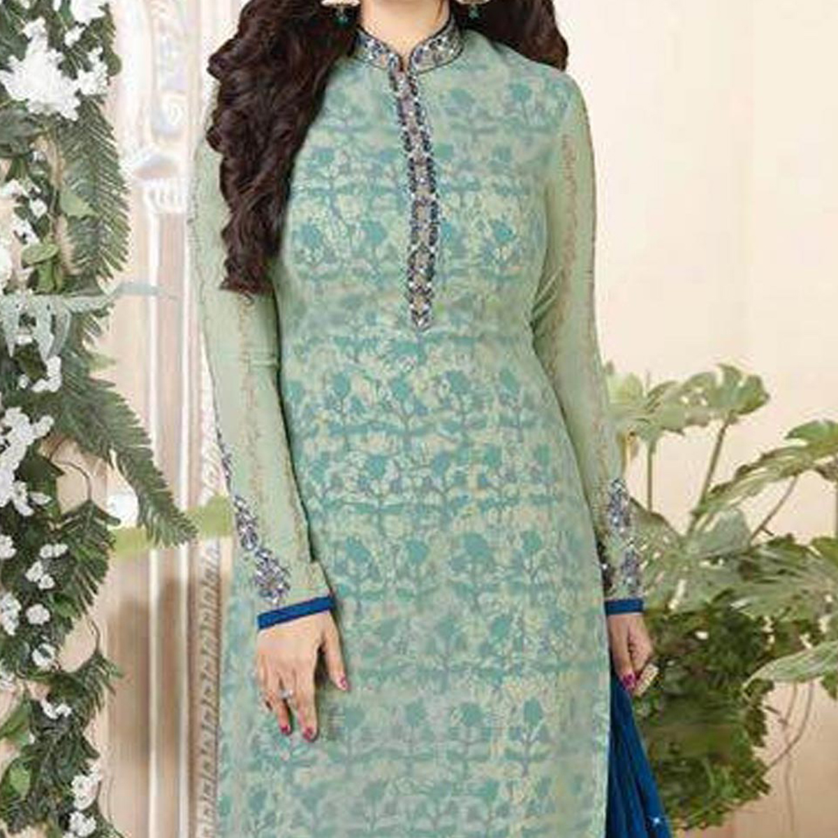 Green Party Wear Suit with Palazzo