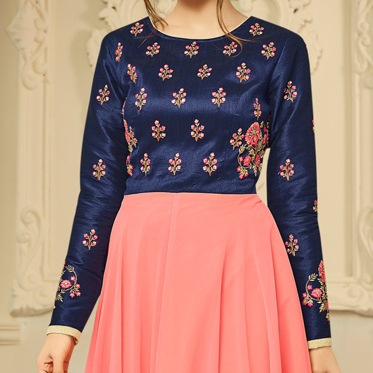 Stylish Navy-Peach Designer Partywear Embroidered Mulberry Silk & Semi Georgette Gown