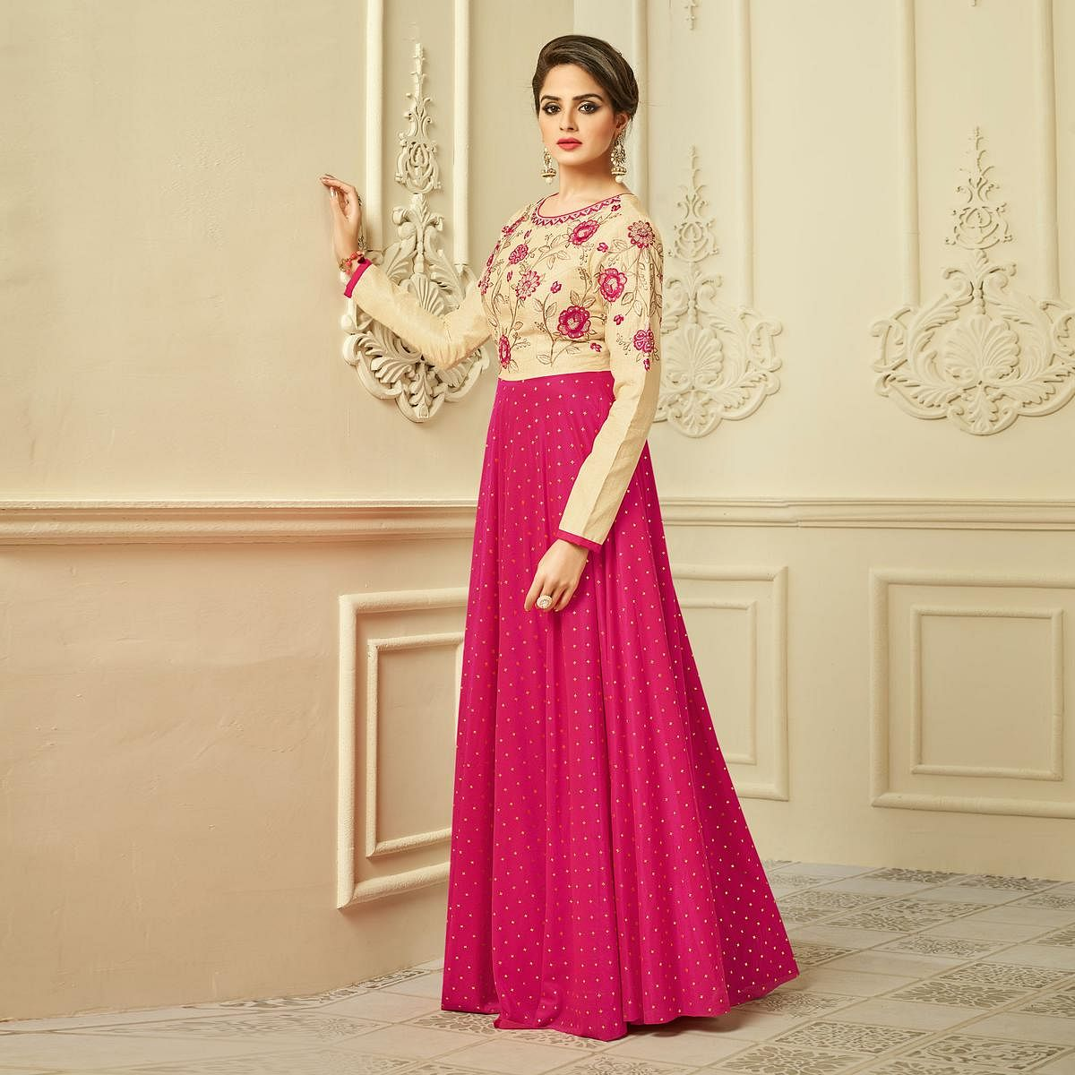 Beautiful Pink-Beige Designer Partywear Embroidered Mulberry Silk Gown