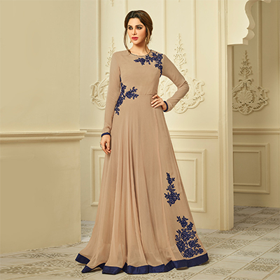 Graceful Beige Designer Partywear Embroidered  Semi Georgette Gown