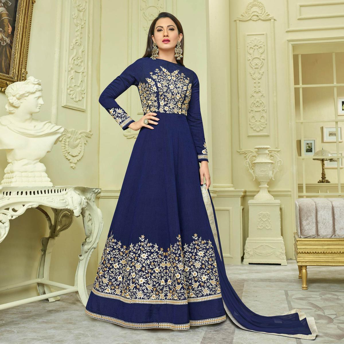 Dazzling Navy Blue Colored Designer Embroidered Heavy Mulberry Silk Anarkali Suit