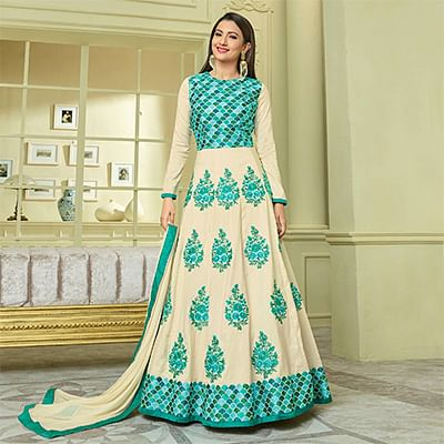 Beautiful Off White-Green Colored Designer Embroidered Heavy Silk Anarkali Suit