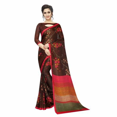Swara Enterprise - Brown Soft Cotton Floral Print Saree with Blouse