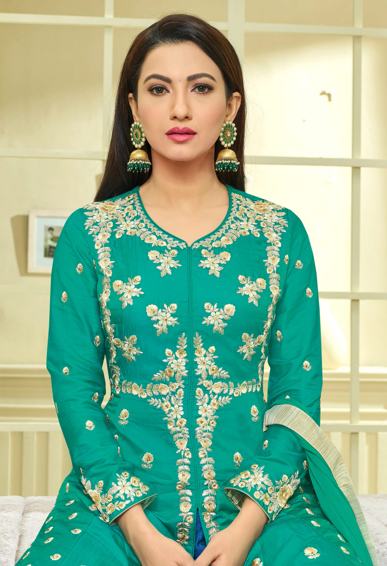 Stunning Green-Blue Colored Front Slit Designer Embroidered Banglori Silk Anarkali Palazzo
