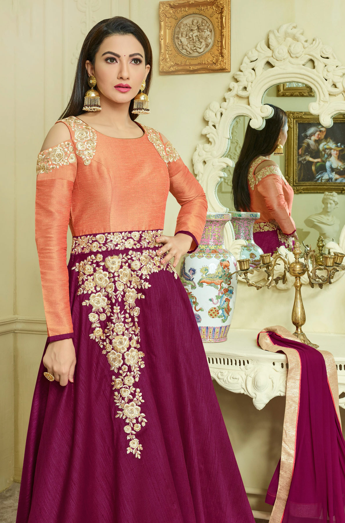 Mesmerising Orange-Maroon Colored Designer Embroidered Banglori Silk Anarkali Gown
