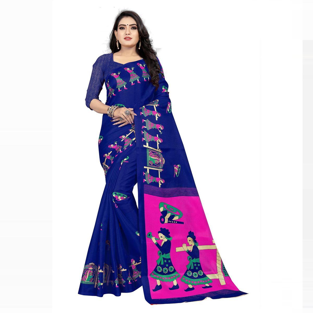 Swara Enterprise - Blue Khadi Silk Kalamkari Saree with Blouse