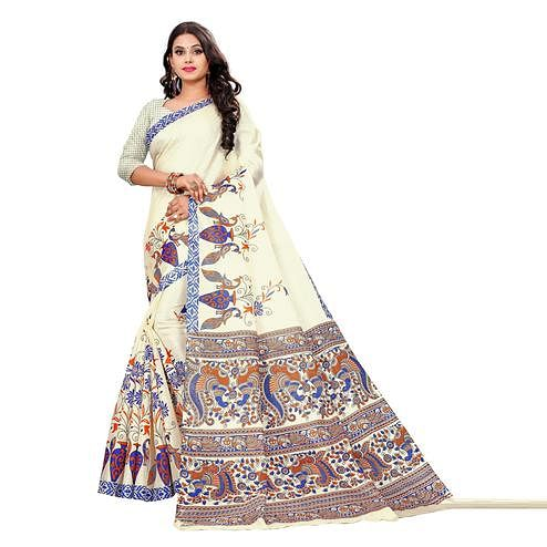 Swara Enterprise - Beige and Blue Khadi Silk Kalamkari Saree with Blouse