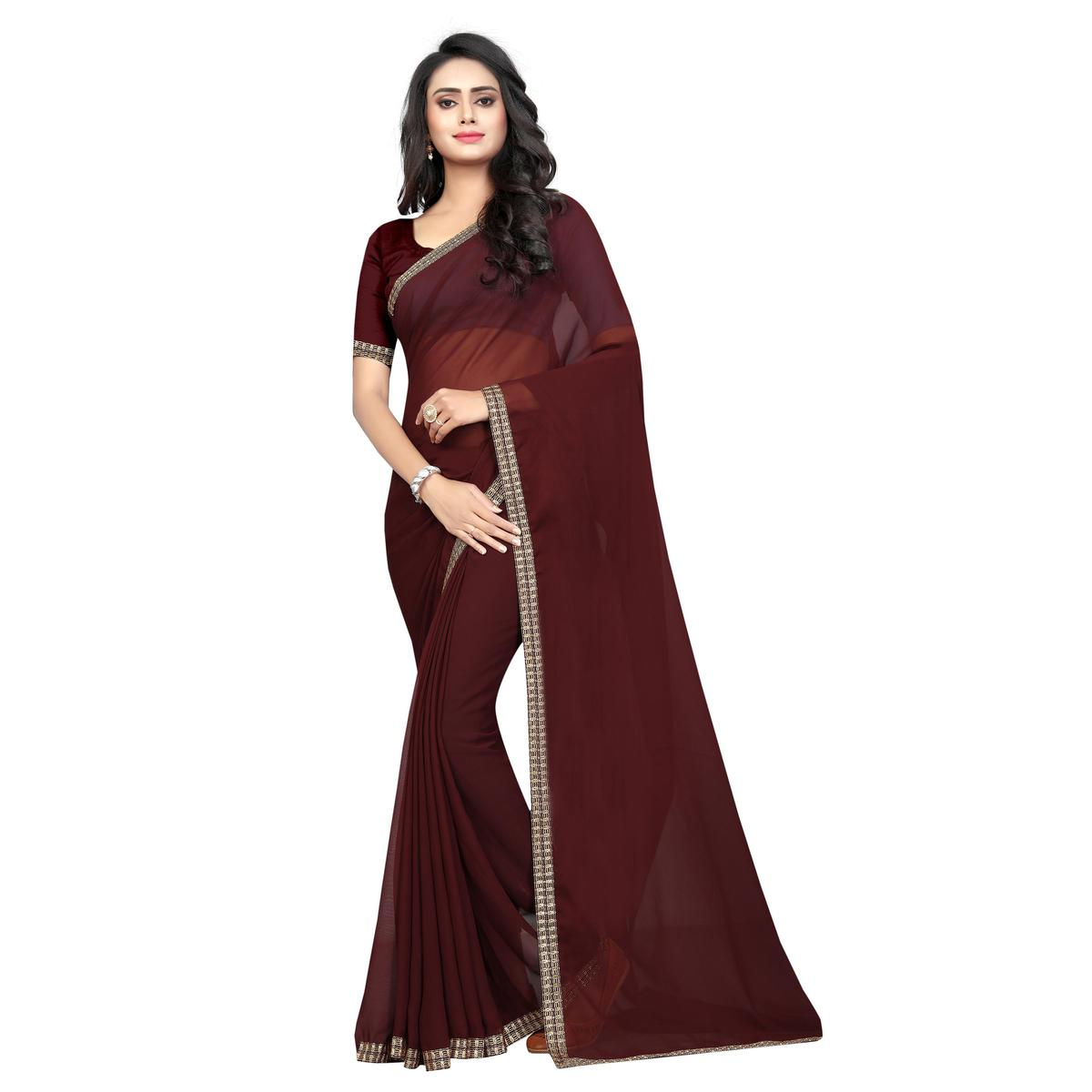 Swara Enterprise - Brown Poly Georgette Lace Border Saree With Blouse