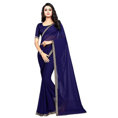 Swara Enterprise - Navy Blue Poly Georgette Lace Border Saree With Blouse