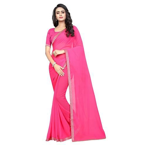 Swara Enterprise - Pink Poly Georgette Lace Border Saree With Blouse