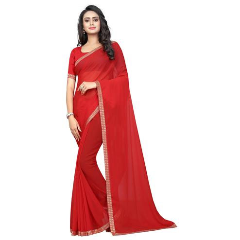 Swara Enterprise - Red Poly Georgette Lace Border Saree With Blouse