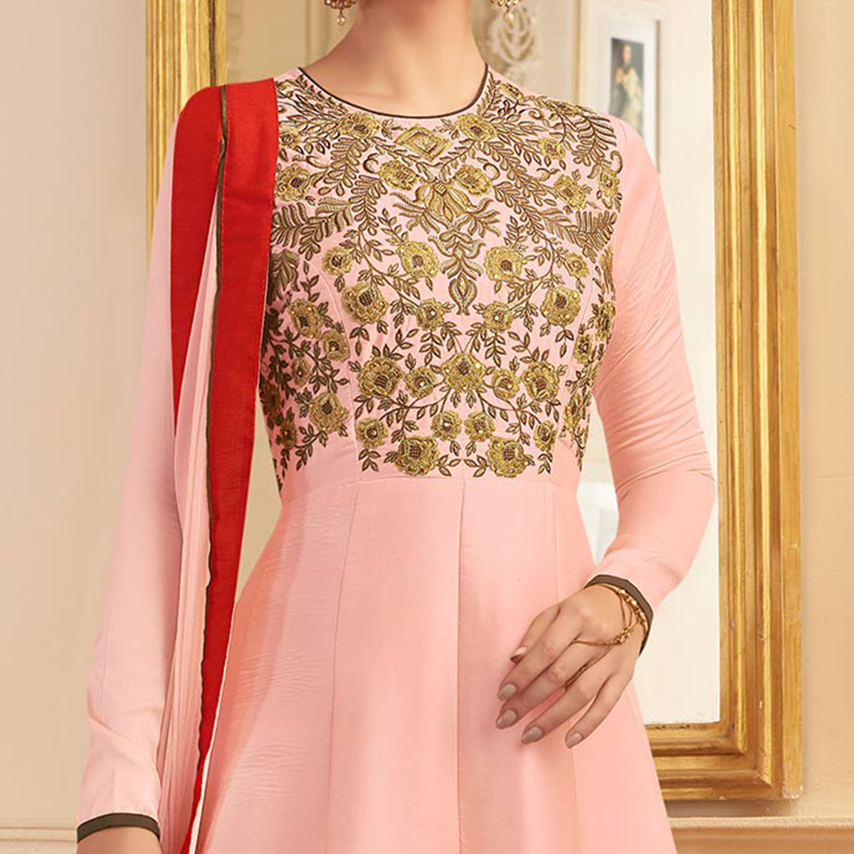 Gorgeous Pink Designer Embroidered Heavy Silk Anarkali Suit