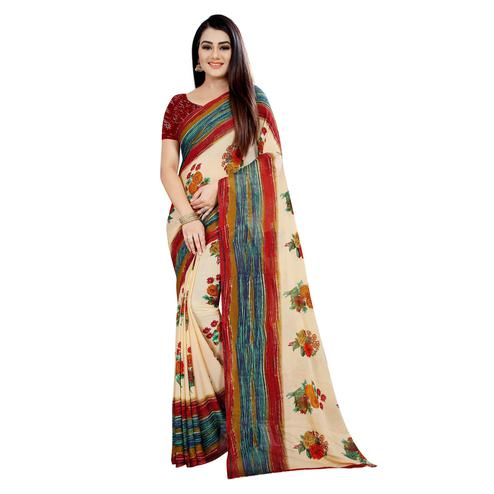 Swara Enterprise - Beige Poly Georgette Floral Print Saree With Blouse