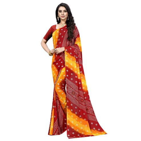 Swara Enterprise - Yellow and Red Poly Georgette Bandhani Saree With Blouse
