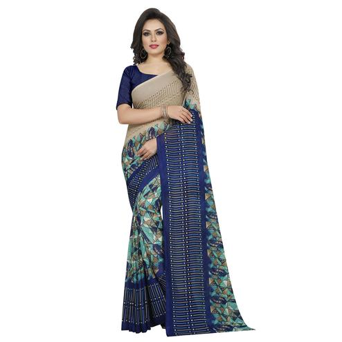 Swara Enterprise - Blue and Beige Poly Georgette Geometric Print Saree With Blouse