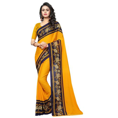 Swara Enterprise - Yellow Poly Georgette Floral Print Saree With Blouse