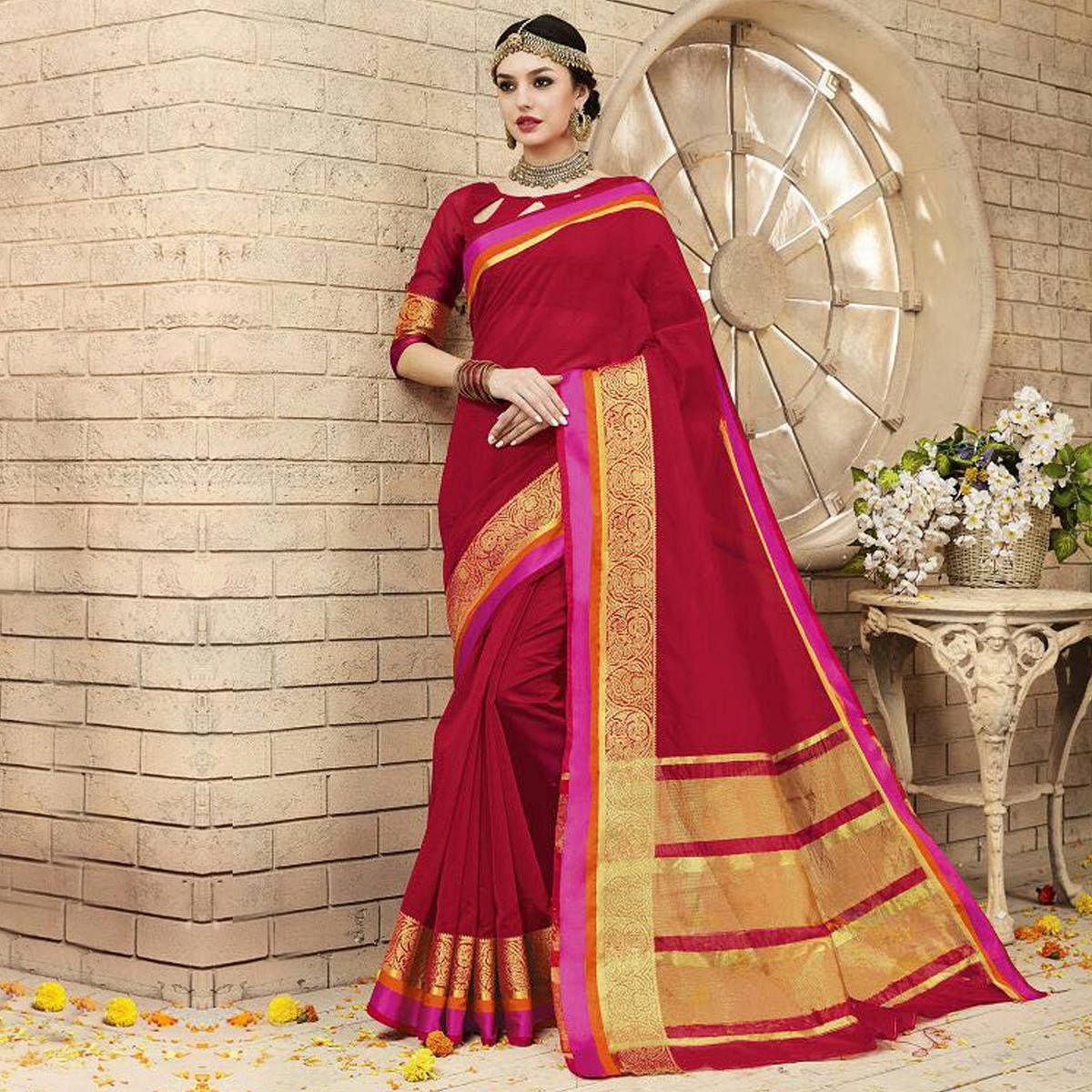 Red Weaving Work Silk Saree