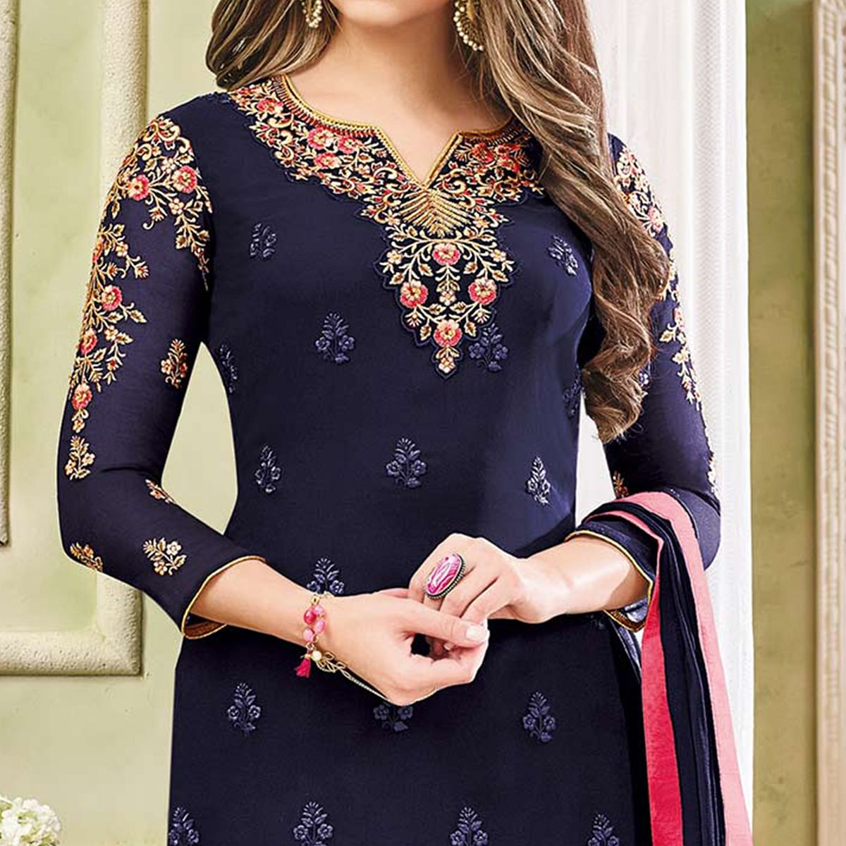 Prestigious Navy Blue Designer Partywear Embroidered Faux Georgette Pant Style Suit