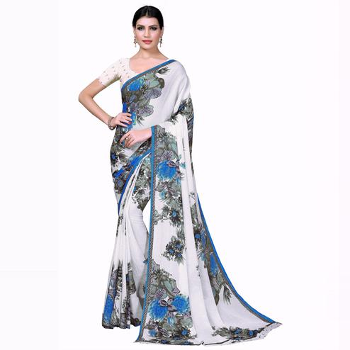 Swara Enterprise - Blue and White Poly Georgette Floral Print Saree With Blouse