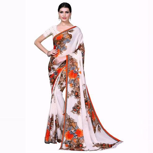 Swara Enterprise - Orange and White Poly Georgette Floral Print Saree With Blouse