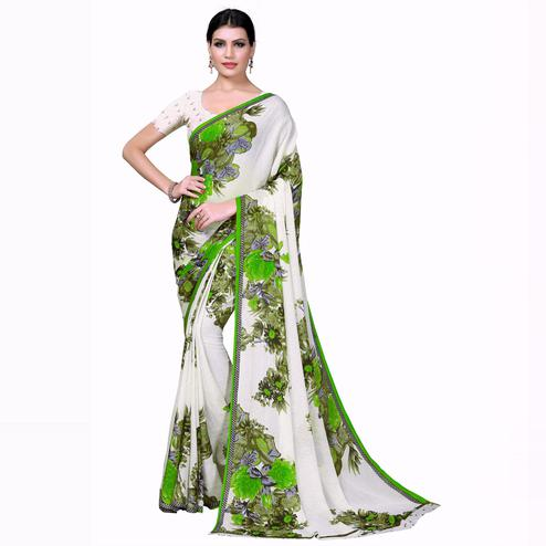 Swara Enterprise - Green and White Poly Georgette Floral Print Saree With Blouse