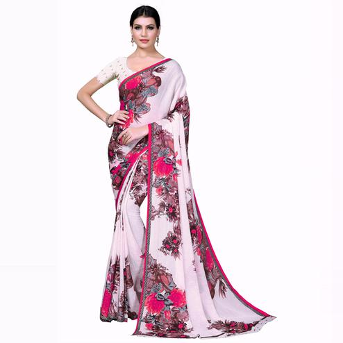 Swara Enterprise - Pink and White Poly Georgette Floral Print Saree With Blouse