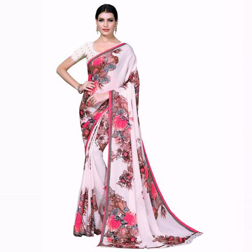 Swara Enterprise - White Poly Georgette Floral Print Saree With Blouse
