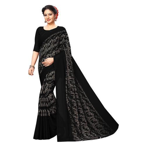 Swara Enterprise - Black Poly Georgette Abstract Print Saree With Blouse