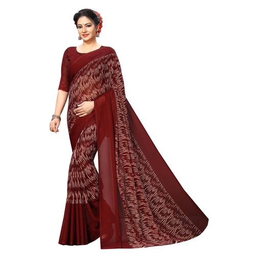 Swara Enterprise - Maroon Poly Georgette Abstract Print Saree With Blouse