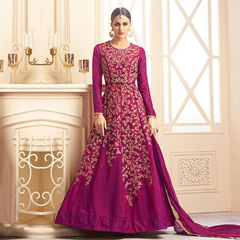 Charming Magenta Colored  Designer Embroidered Heavy Silk Anarkali Suit
