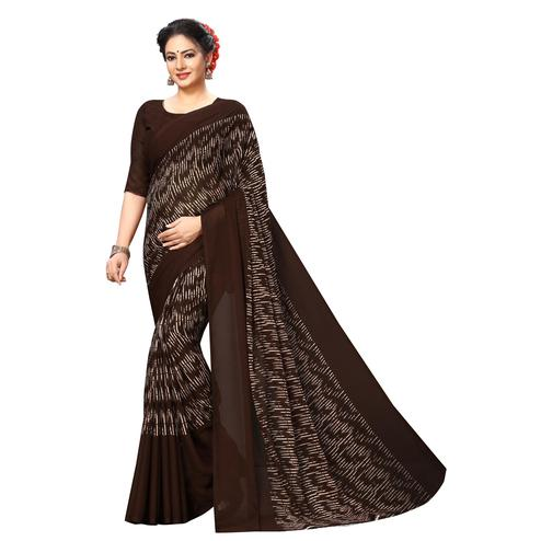 Swara Enterprise - Brown Poly Georgette Abstract Print Saree With Blouse