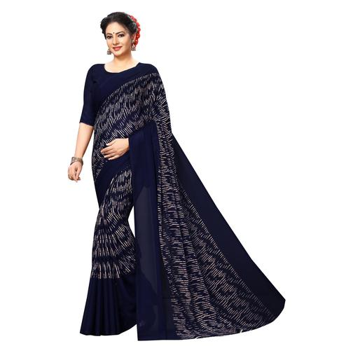 Swara Enterprise - Navy Blue Poly Georgette Abstract Print Saree With Blouse