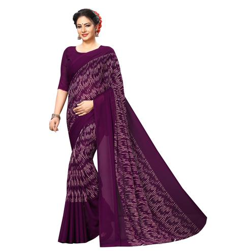 Swara Enterprise - Wine Poly Georgette Abstract Print Saree With Blouse