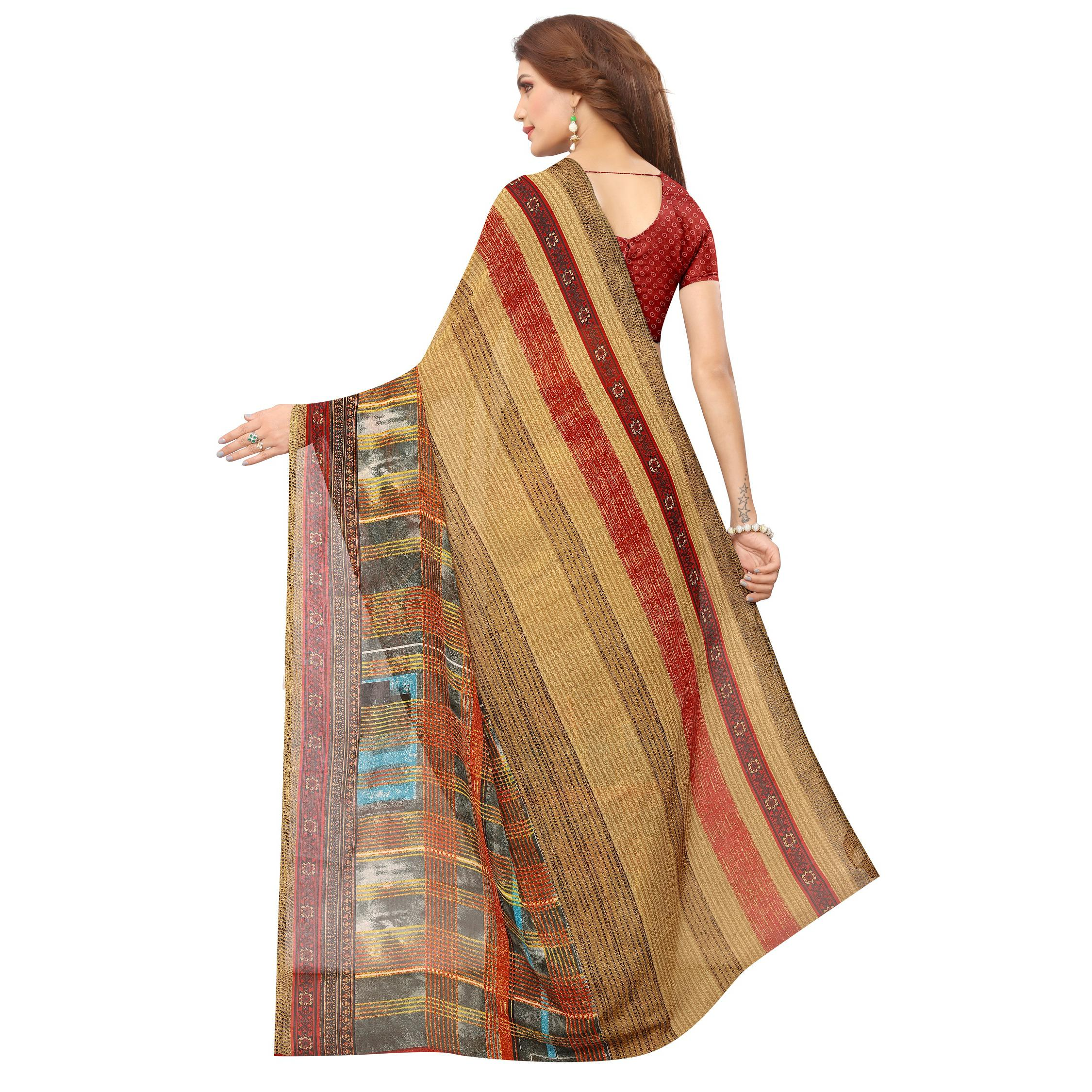 Swara Enterprise - Multicolor Poly Georgette Striped Saree With Blouse
