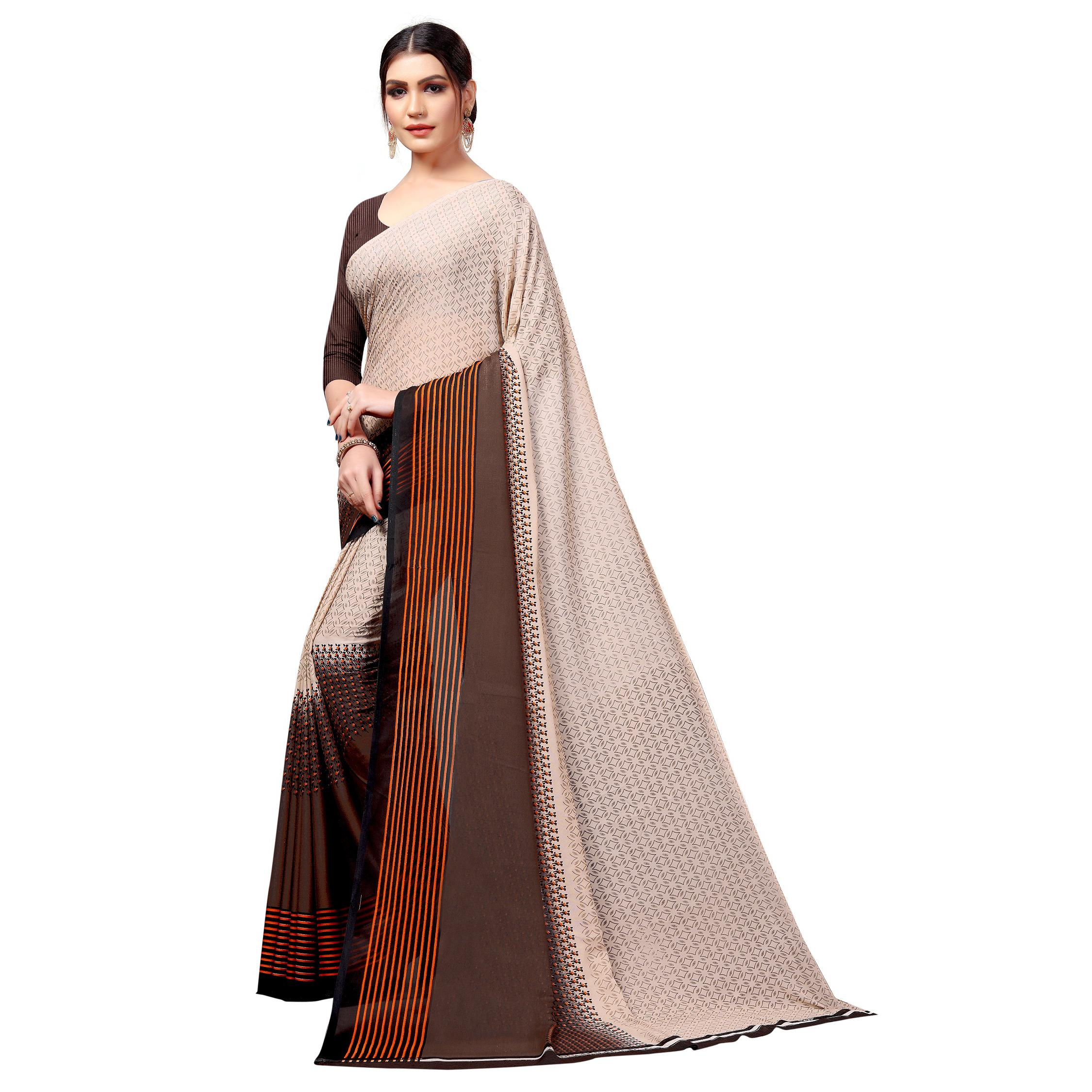 Swara Enterprise - Beige Poly Georgette Striped Saree With Blouse