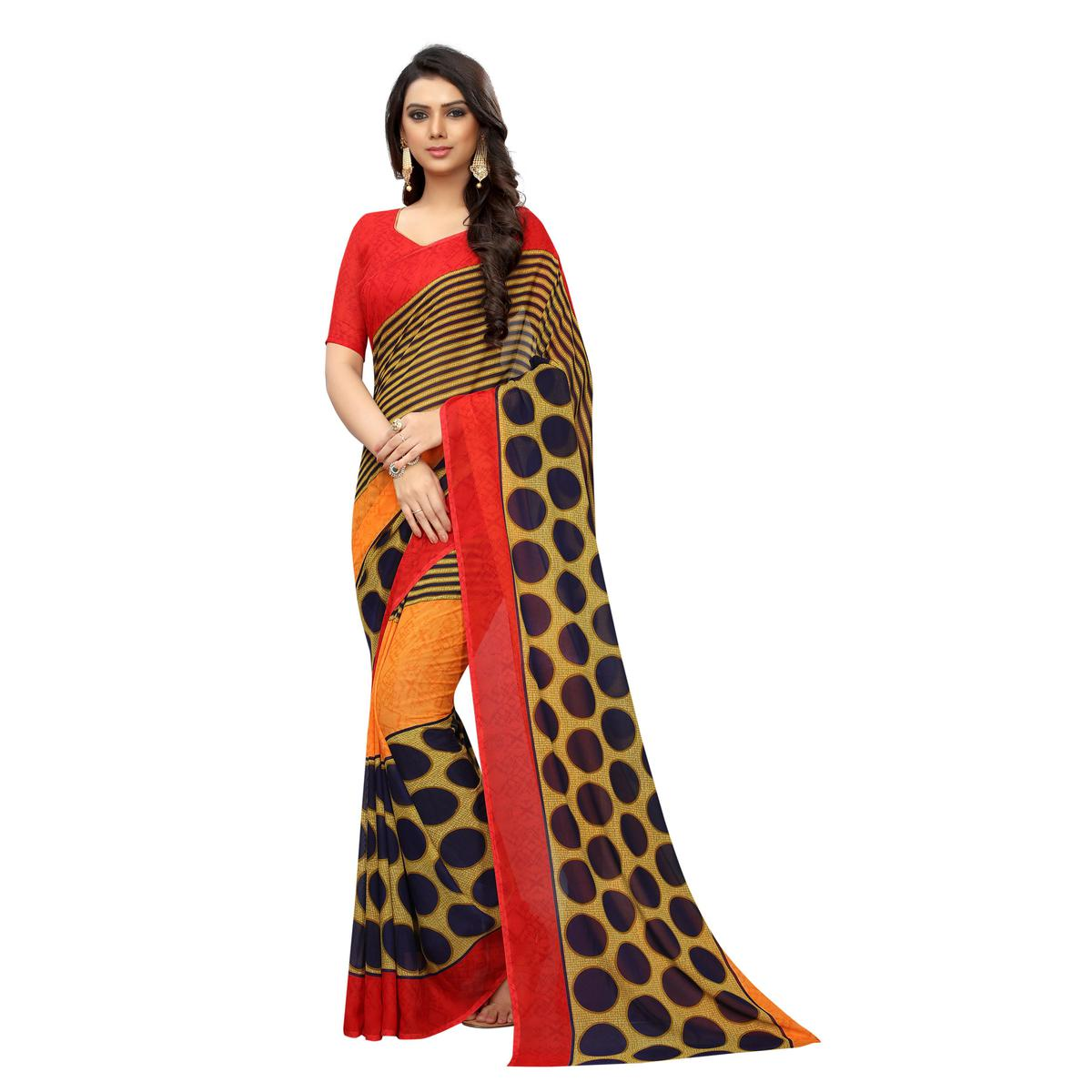 Swara Enterprise - Yellow Poly Georgette Striped Saree With Blouse